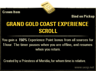 Grand Gold Coast Experience Scroll, Crown Consumable (image by UESP.net)