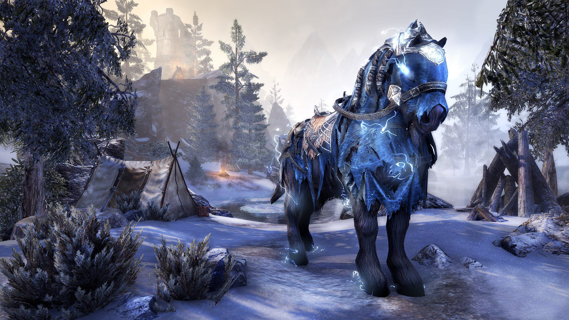 Galvanic Storm Steed, Radiant Apex Mount, Scalecaller Crown Crate (image by Zenimax Online)