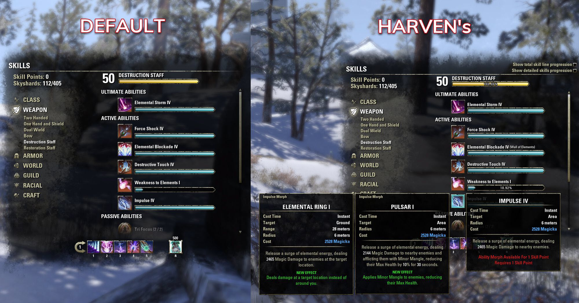Harven's Improved Skills Window by Harven, The Elder Scrolls Online Addon (image by @serpentaa)