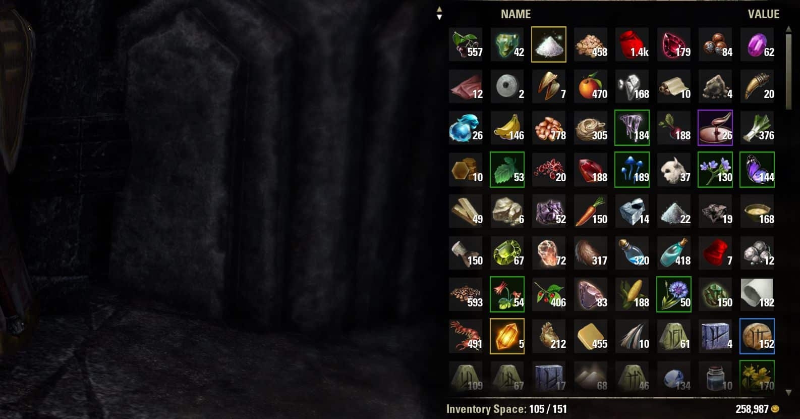 Inventory Grid View by Randactyl & ingeniousclown, The Elder Scrolls Online Addon (image by @serpentaa)