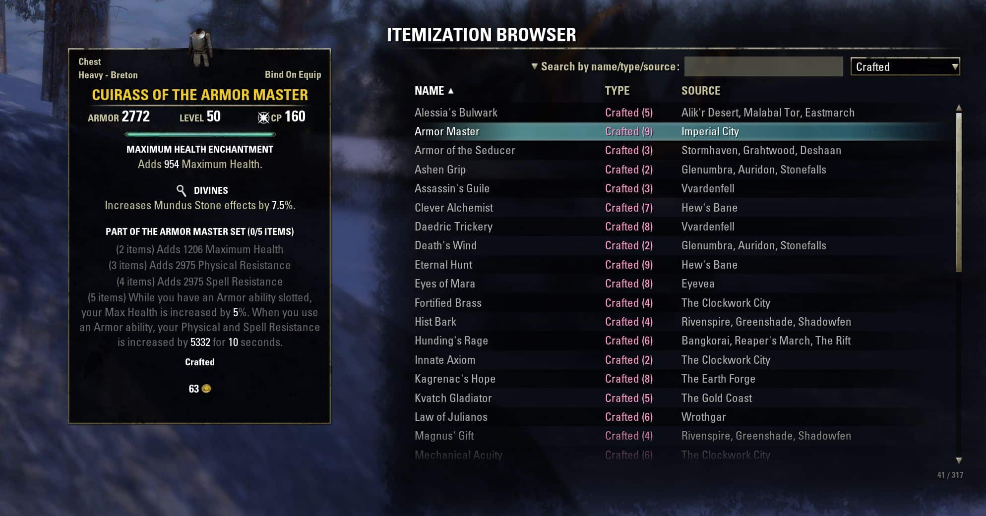 Itemization Browser by code65536, The Elder Scrolls Online Addon (image by @serpentaa)