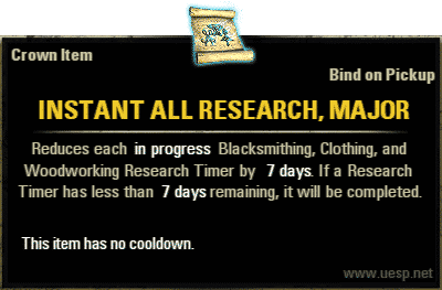 Instant All Research, Major, Crown Consumable (image by UESP.net)