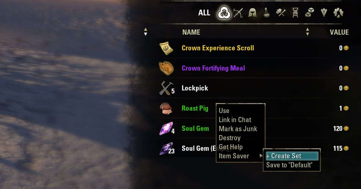 Item Saver by Randactyl & ingeniousclown, The Elder Scrolls Online Addon (image by @serpentaa)