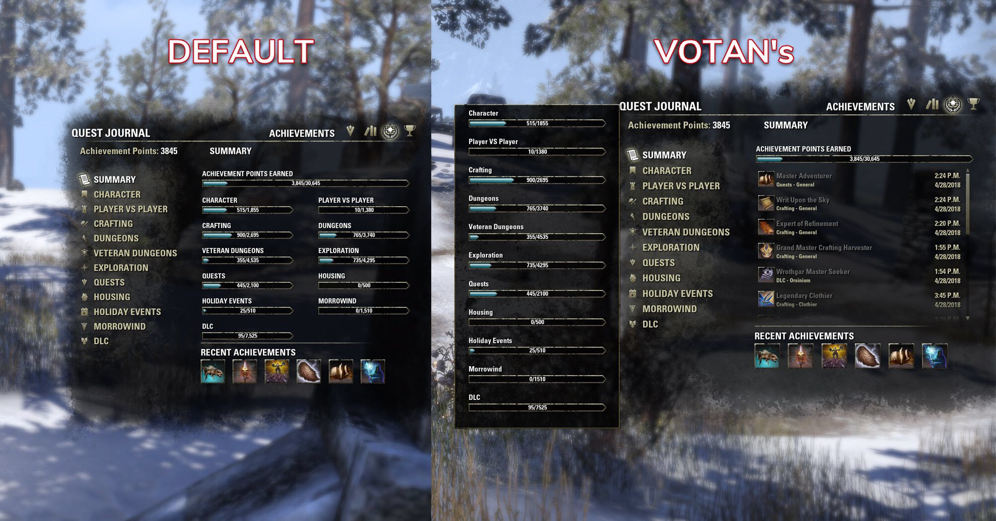 Votan's Achievements Overview by votan, The Elder Scrolls Online Addon (image by @serpentaa)