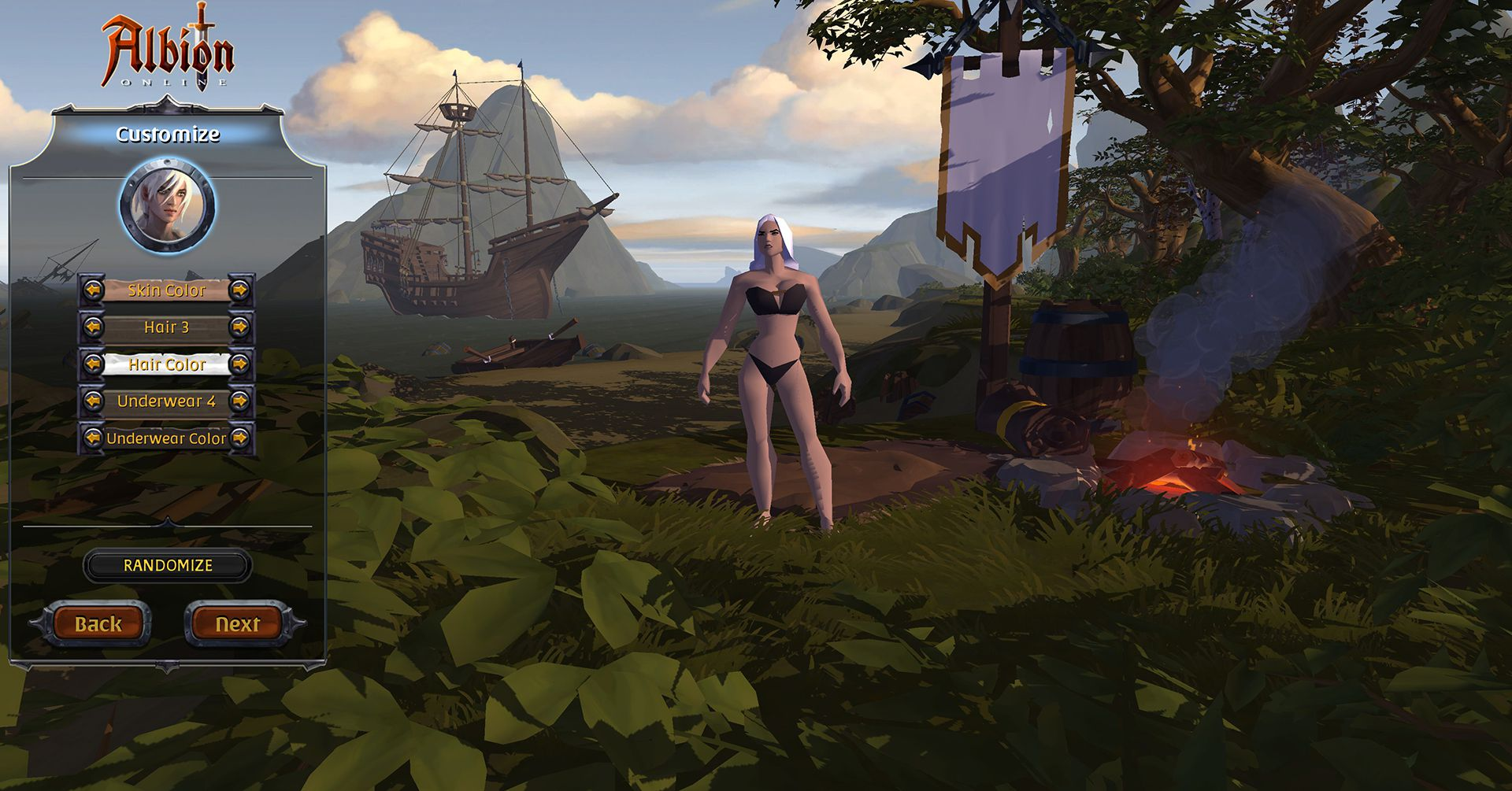 Character Creation Screen, Albion Online