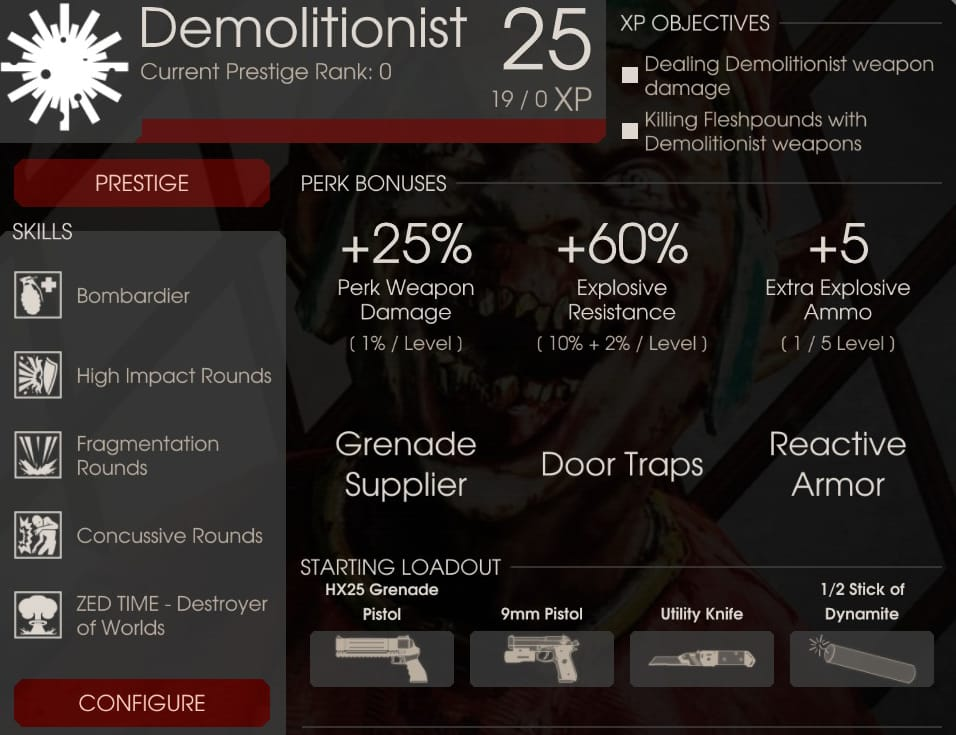 Demolitionist Perk Overview, Killing Floor 2