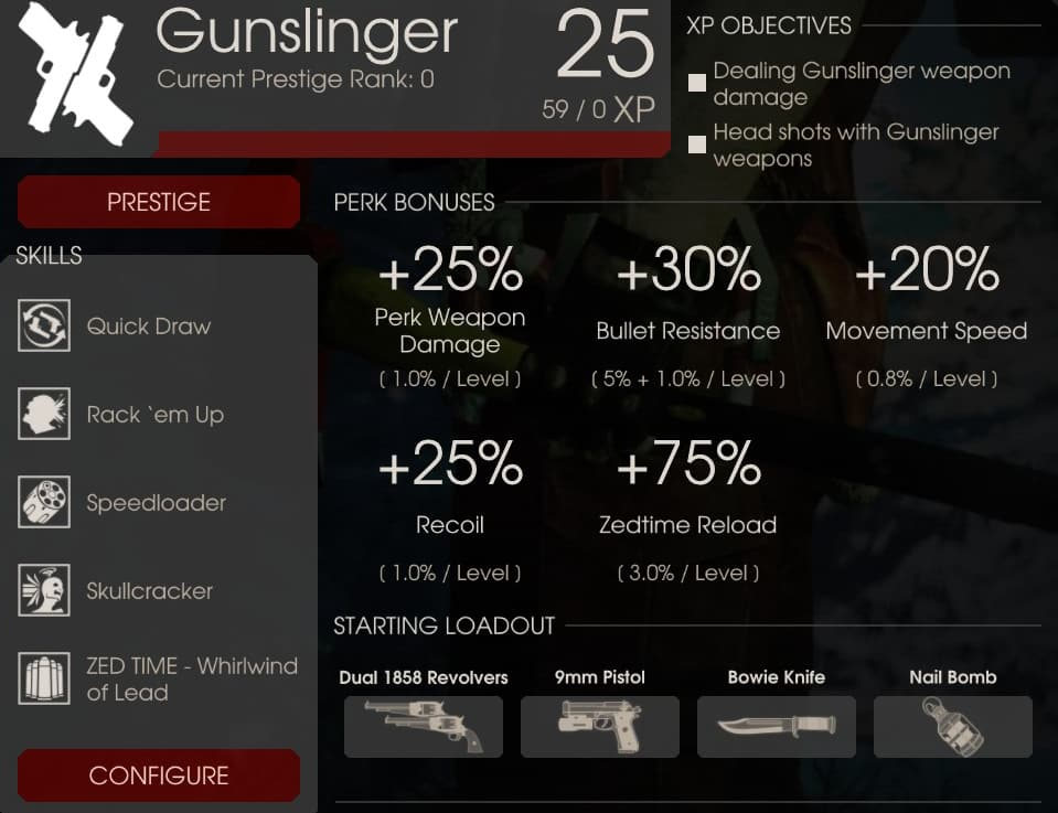 Gunslinger Perk Overview, Killing Floor 2