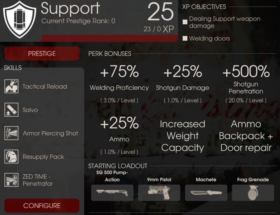 Support Perk Overview, Killing Floor 2