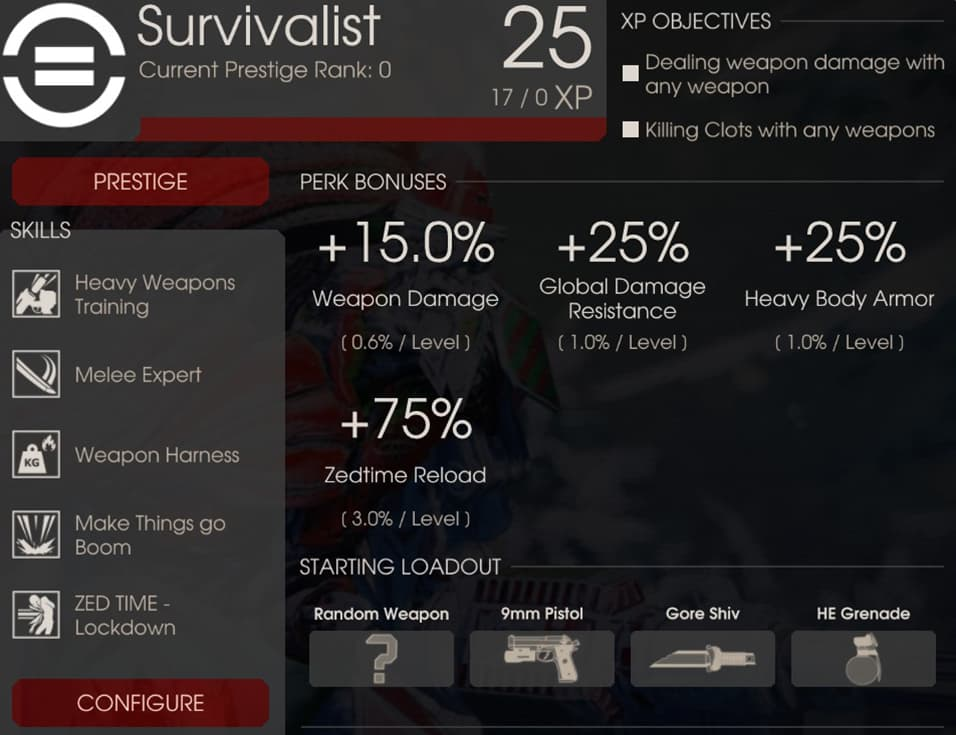 Survivalist Perk Overview, Killing Floor 2