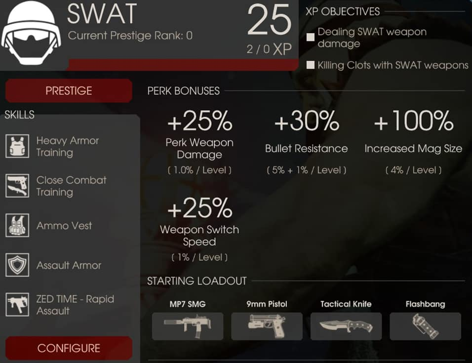 SWAT Perk Overview, Killing Floor 2