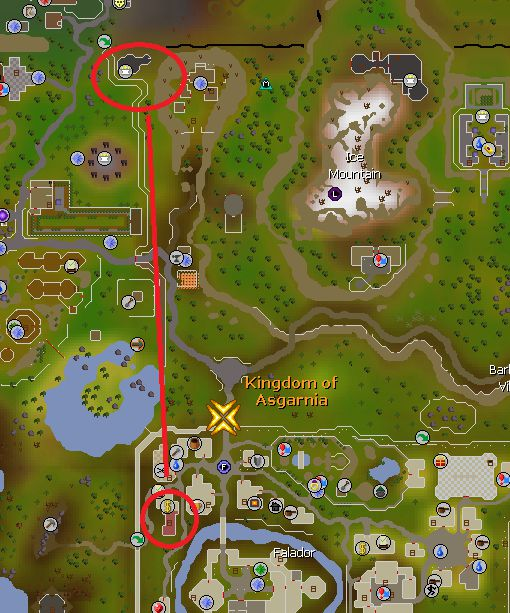 Chaos Temple To Falador Bank Route, Old School Runescape