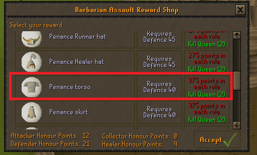 Rewards Shop, Old School Runescape