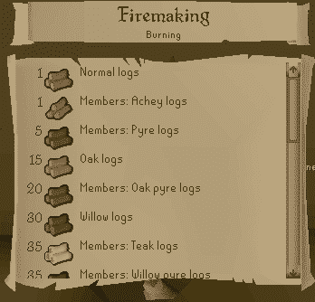 Firemaking List, Old School Runescape