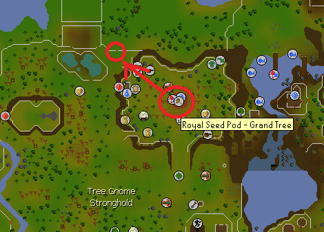 Route of Grand Seed Pod Teleport to The Gap , Old School Runescape