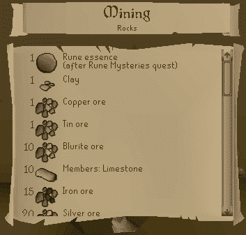 Mining List, Old School Runescape
