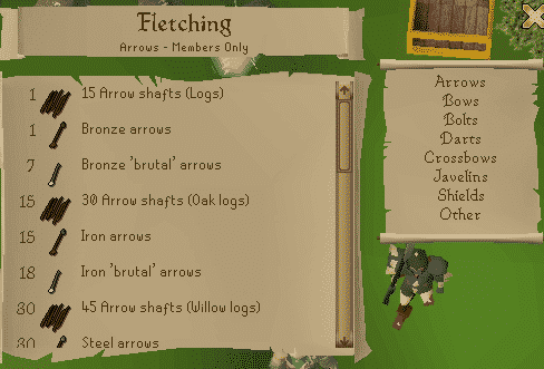 Fletching List, Old School Runescape