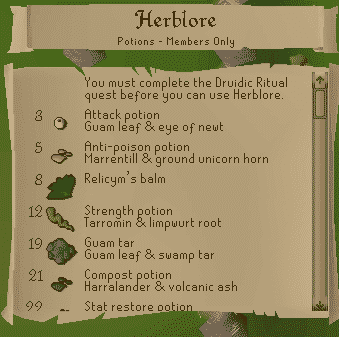 Ingredients List, Old School Runescape