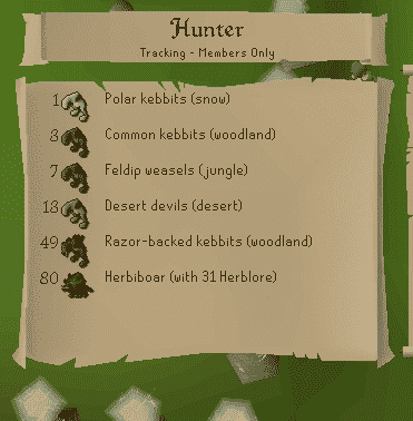 Hunter List, Old School Runescape