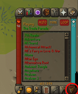 Music Tab, Old School Runescape