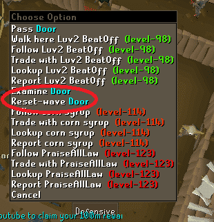 Reset Wave Option, Old School Runescape