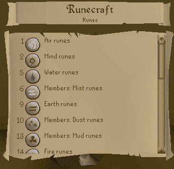 Runecrafting List, Old School Runescape