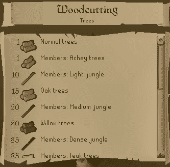 Woodcutting List, Old School Runescape