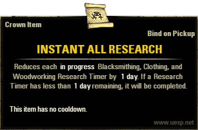 Instant All Research, Crown Consumable (image by UESP.net)