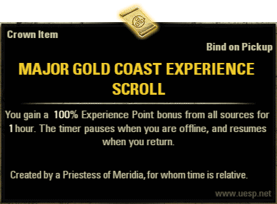 Major Gold Coast Experience Scroll, Crown Consumable (image by UESP.net)