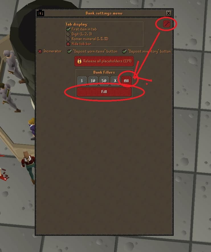 Setting Bank Fillers, Old School Runescape