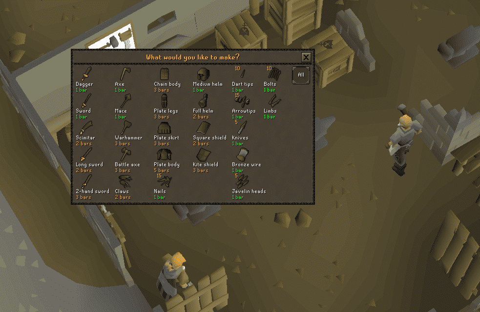 Anvil Smithing Bronze List, Old School Runescape