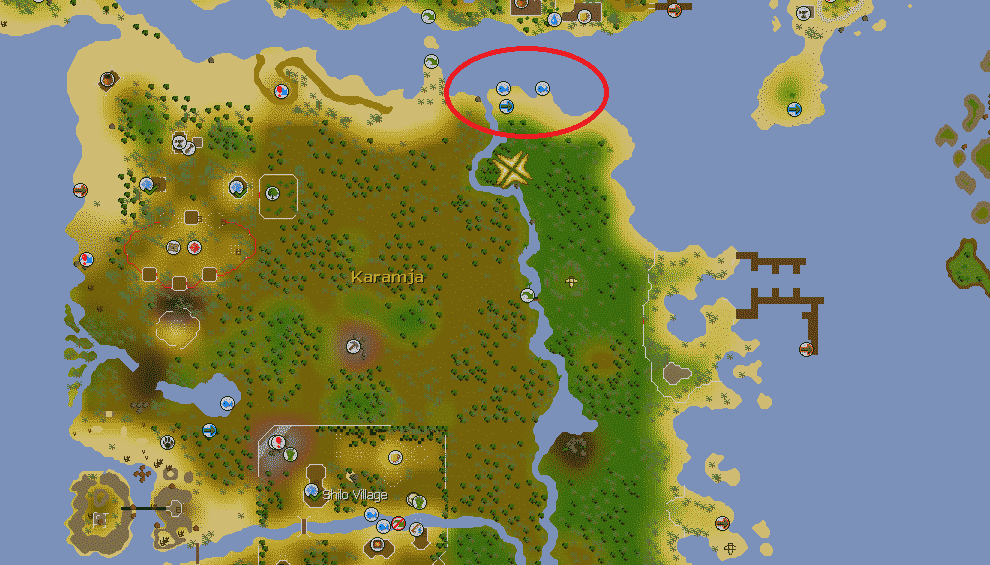 Karambwan Fishing Spot Location, Old School Runescape