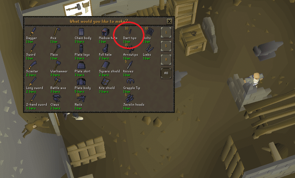 Mithril Dart Tips Smithing, Old School Runescape