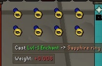 Sapphire Rings Enchanting, Old School Runescape