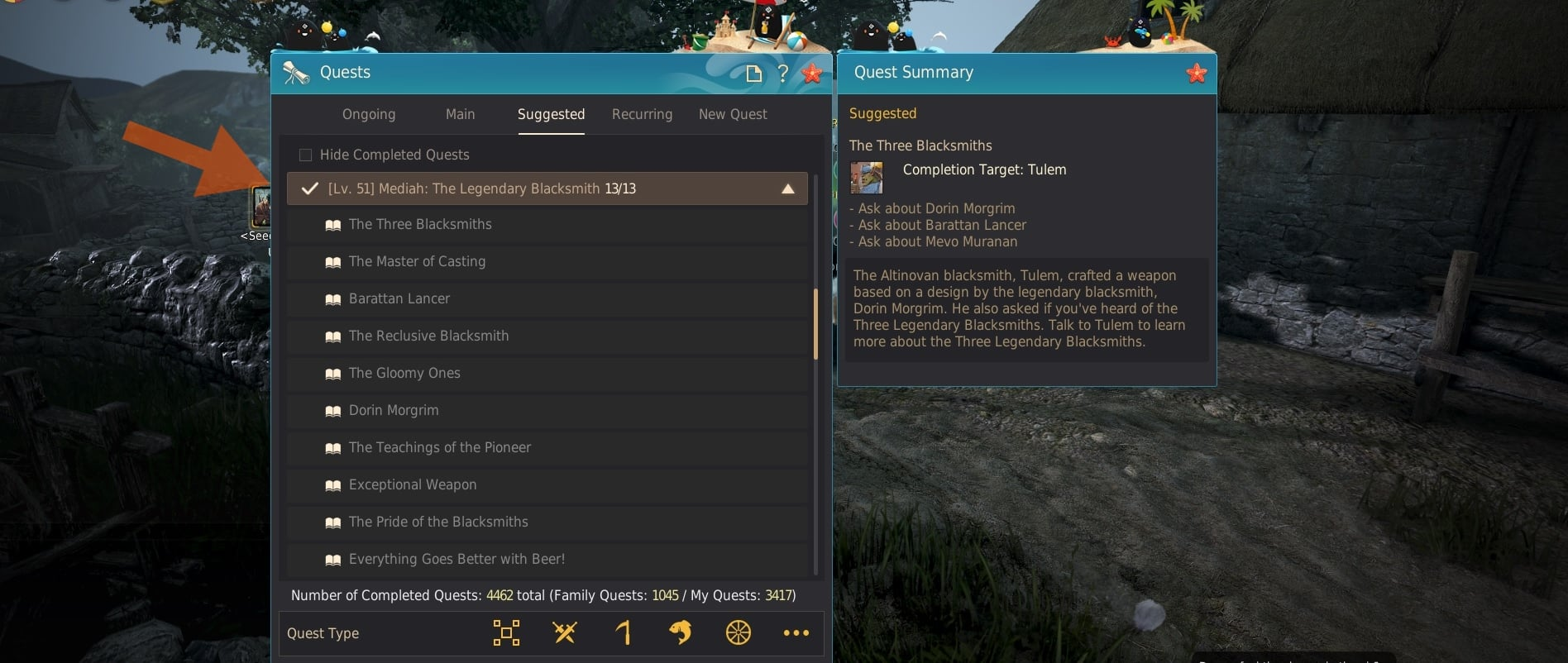 The Three Legendary Blacksmith quest at quest window